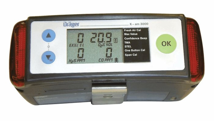 X-AM 3000 Gas Detector & charger by draeger for FL/O²/H²S/CO